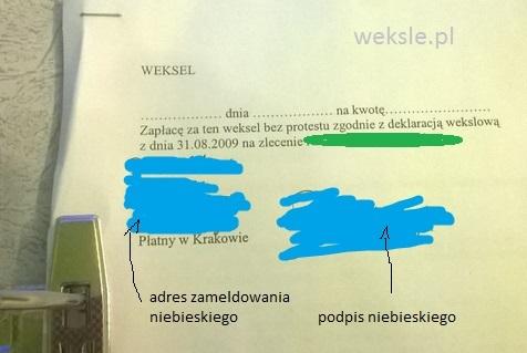weksel zgodnie z deklaracja